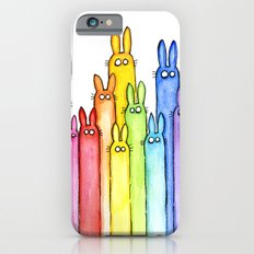 Bunny Rainbow Bunnies Rabbit Watercolor Pattern Whimsical Colorful Animals iPhone 6s Slim Case