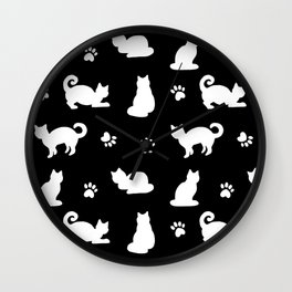 White Cats and Paw Prints Pattern on Black Wall Clock
