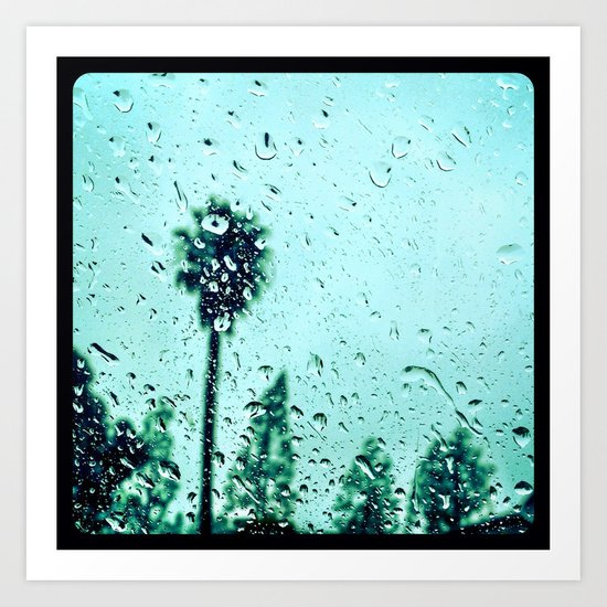 Trees amidst the rain drops. Art Print