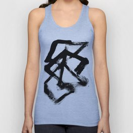 Brushstroke 5 - a simple black and white ink design Unisex Tank Top