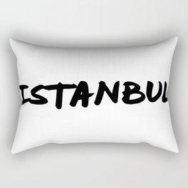 'Istanbul' Turkey Hand Letter Type Word Black & White Rectangular Pillow