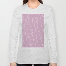 Modern spring pink lavender floral twigs hand drawn pattern Long Sleeve T-shirt