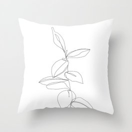 One line minimal plant leaves drawing - Berry Throw Pillow