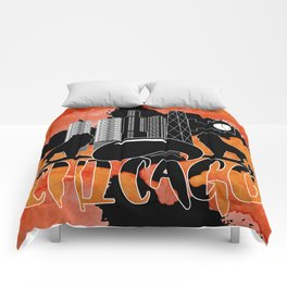 Chicago Iconic Landmarks Abstract Cityscape Comforters