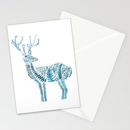 green deer watercolor Stationery Cards