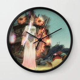 Warrior girl and yellow pig Wall Clock