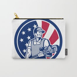 American Plumber and Pipefitter USA Flag Icon Carry-All Pouch