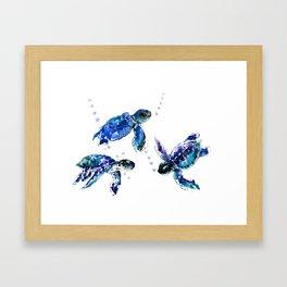 Three Sea Turtles, Marine Blue Aquatic design Framed Art Print