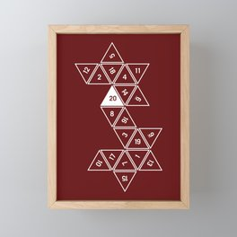 Red Unrolled D20 Framed Mini Art Print