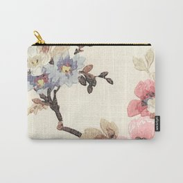 Pink & Blue Vintage Floral Design Carry-All Pouch