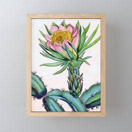 Blooming cactus Framed Mini Art Print