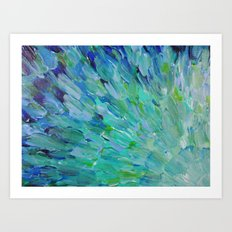SEA SCALES - Beautiful Ocean Theme Peacock Feathers Mermaid Fins Waves Blue Teal Color Abstract Art Print