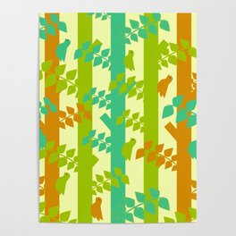 Birds and tree trunks Poster