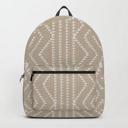 Cream Linen Beige Arrows Pattern Backpack