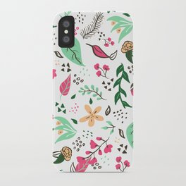 Modern hand drawn spring floral pattern pink green yellow flowers illustration iPhone Case