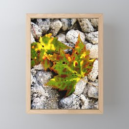 Leaves in Gray Framed Mini Art Print
