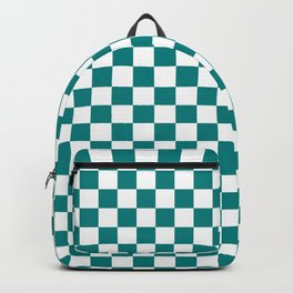 White and Teal Green Checkerboard Backpack