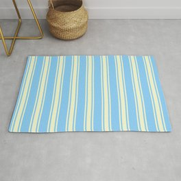 Light Sky Blue and Light Yellow Colored Stripes/Lines Pattern Rug