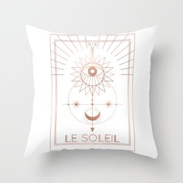 Le Soleil or The Sun Tarot White Edition Throw Pillow