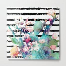 Pretty watercolor cactus floral and stripes design Metal Print