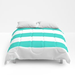 Wide Horizontal Stripes - White and Turquoise Comforters