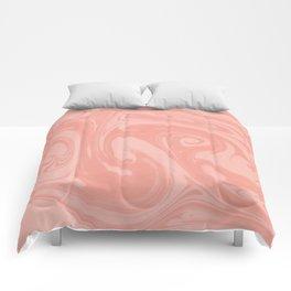 Pantone Living Coral Abstract Fluid Art Swirl Pattern Comforters