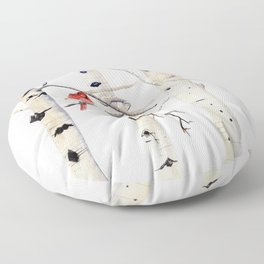 Birch Trees and Cardinal Floor Pillow