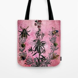 Vintage Bees with Toadflax Botanical illustration collage Tote Bag