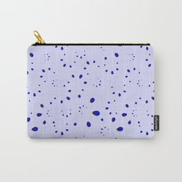 A lot of blue drops and petals on a cloudy background in nacre. Carry-All Pouch