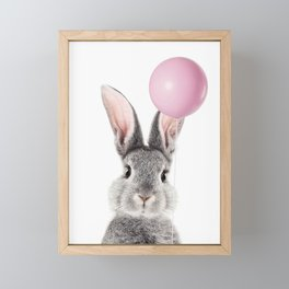 Bunny With Balloon Framed Mini Art Print