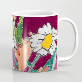 Daisy Bouquet in Tiger Vase on Deep Burgundy Wine Red Still Life Floral Painting Coffee Mug