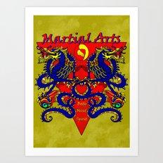 Martial Arts Dragons, Body Mind Spirit  Art Print