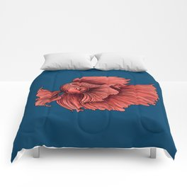 Coral Siamese fighting fish Comforters