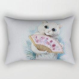 Louis Wain's Feline Temptress With Fan Rectangular Pillow