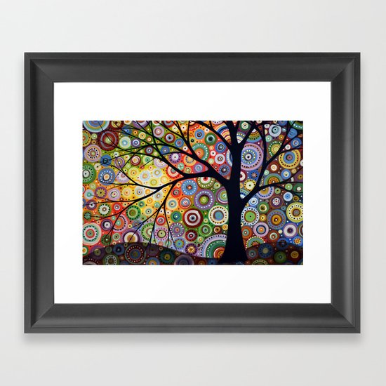 Abstract Landscape Original Painting...VISIONS OF NIGHT, by Amy Giacomelli Framed Art Print