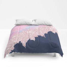 Pink navy blue watercolor brushstrokes glitter Comforters