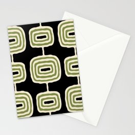 Mid Century Modern Atomic Rings Pattern 236 Black Beige and Olive Green Stationery Cards