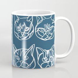 Blue and White Silly Kitty Faces Coffee Mug