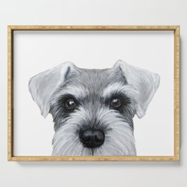 Schnauzer Grey&white, Dog illustration original painting print Serving Tray