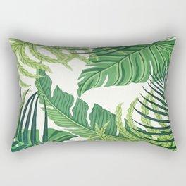 Green tropical leaves II Rectangular Pillow
