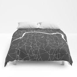 Gray on White London Street Map Comforters