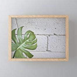 brick monstera Framed Mini Art Print