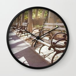 New York City Park Bench Moments Wall Clock