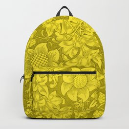 William Morris Yellow Tuscany Sunflower Textile Floral Pattern Backpack