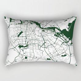 Amsterdam White on Green Street Map Rectangular Pillow