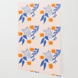 Floral Pattern Indigo Orange Blue Wallpaper