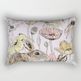 rabbits and flowers with color Rectangular Pillow