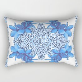 Blue Plumeria Tribal Mandala Rectangular Pillow