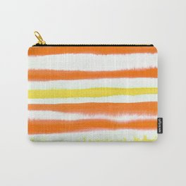 Orange & Yellow Watercolor Stripes Carry-All Pouch