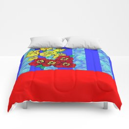 Blue and Red Floral pattern Comforters